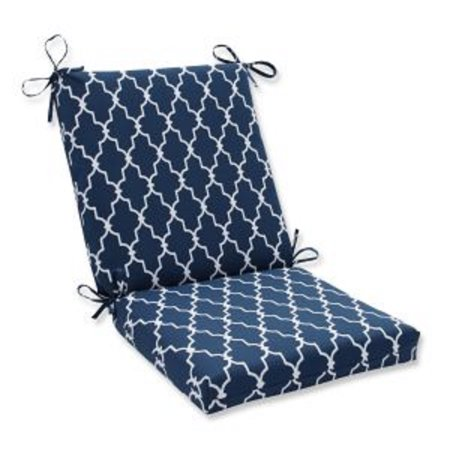 """36.5"""" Moroccan Gate Navy Blue and White Outdoor Patio Chair Cushion with Ties ()"""