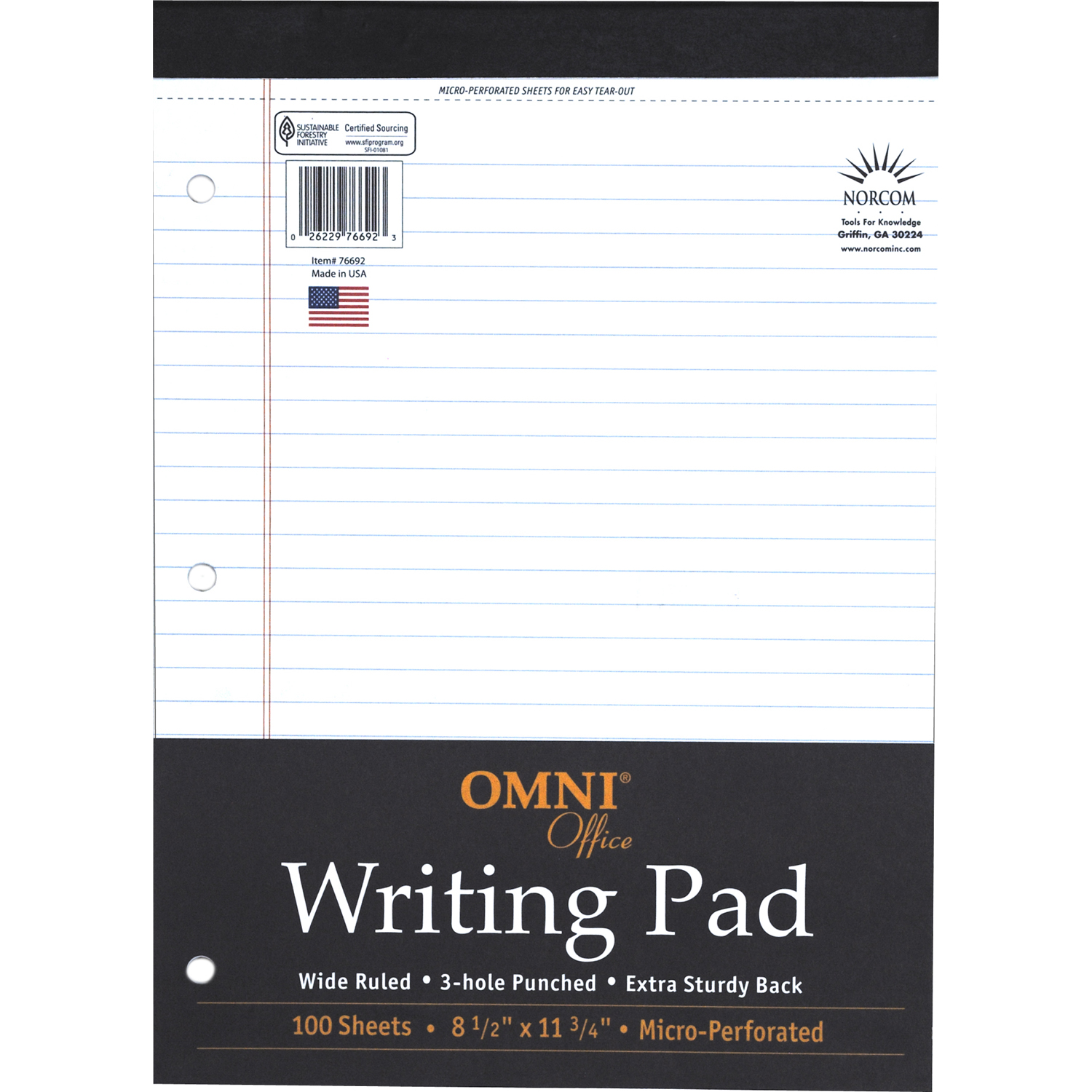 "Omni Office 100-Page White Legal Pad, 8.5"" x 11.75"""
