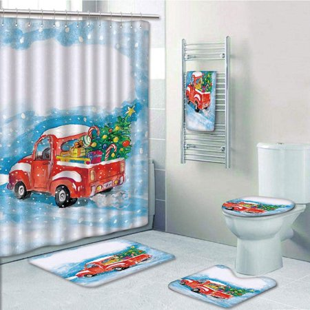 EREHome Christmas Vintage Red Truck in Snowy Winter Scene with Tree Gifts Candy Cane Kids 5 Piece Bathroom Set Shower Curtain Bath Towel Bath Rug Contour Mat and Toilet Lid Cover - image 2 de 2