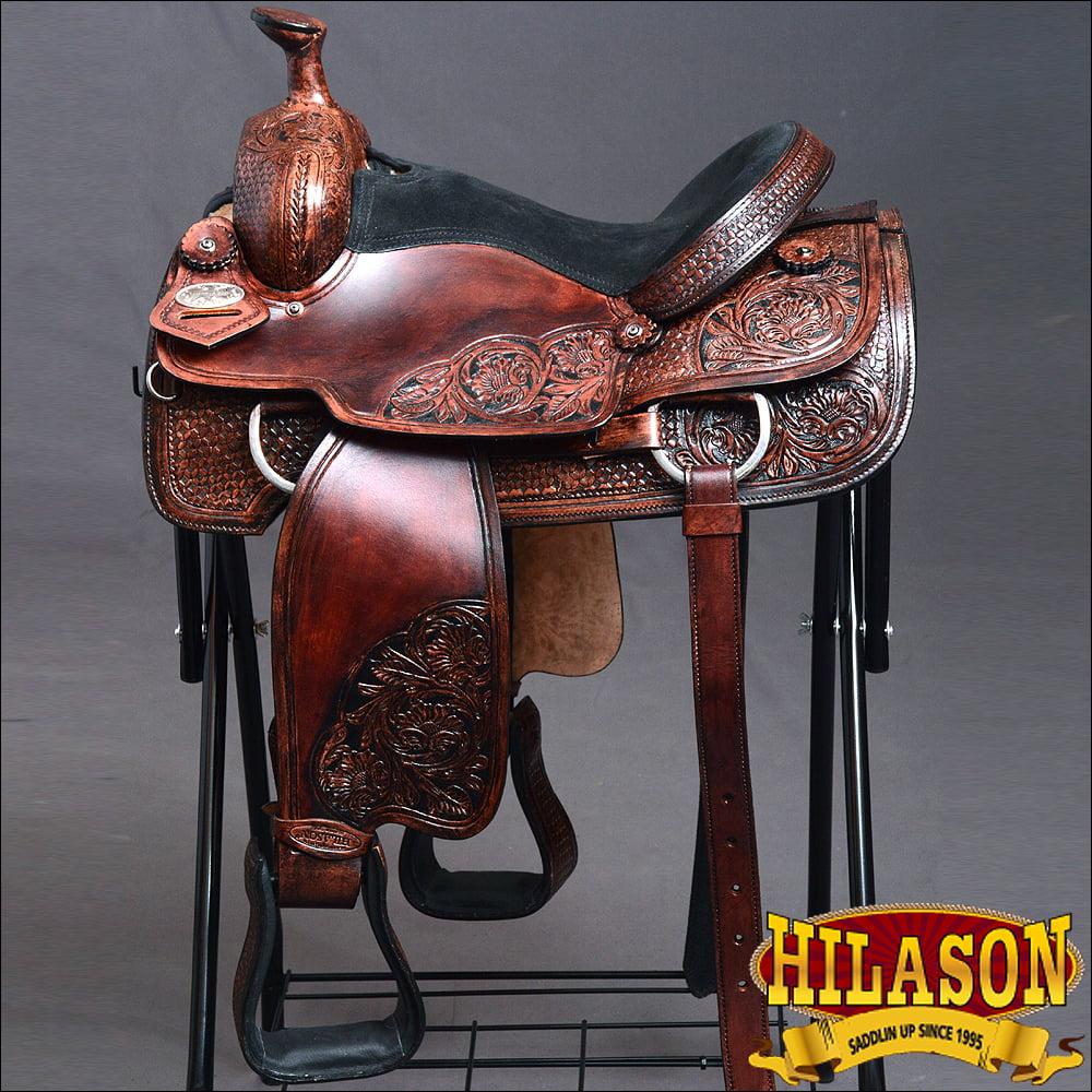 OS100M-F HILASON WESTERN RANCH COWBOY HORSE ROPING SADDLE...