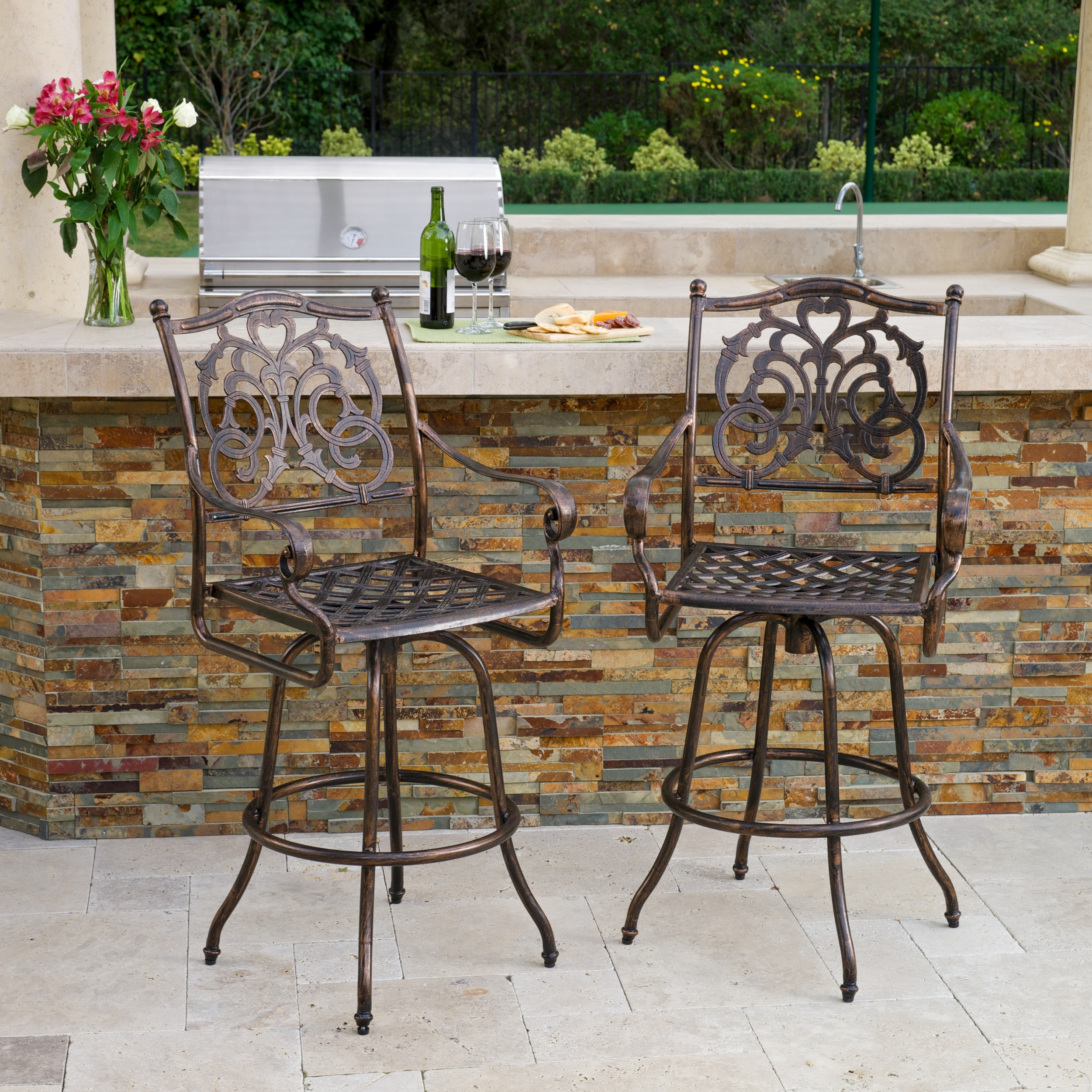 Christopher Knight Home Casselberry Cast Aluminum Outdoor Bar Stool (Set of 2) by