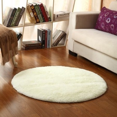 circle round soft round rug living room carpet bedroom kids children floor mat beige