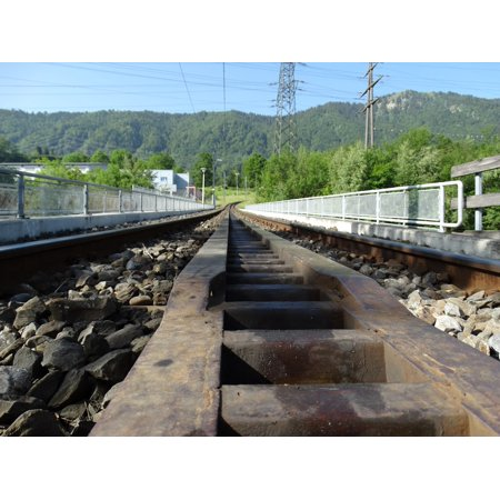 Train Mountain Railroad - Framed Art For Your Wall Rail Rack Railway Mountain Railway Train Rack Rail 10x13 Frame