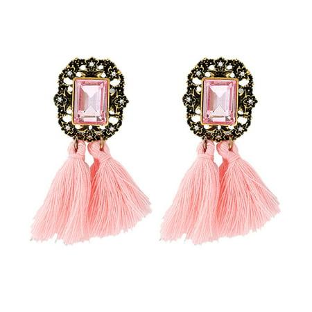 Vintage Tassel Drop Dangle Earrings Crystal Casual Jewelry Ethnic Bohemian Clip On Earrings Eardrop for Women Girls 1 Pair (Vintage Earrings Clip On)
