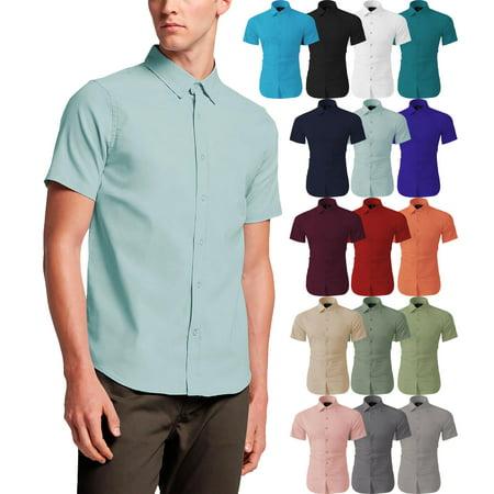 Men's Premium Short Sleeve Dress Shirts Solid Stretch Slim Fit Stretch Dress Skirt