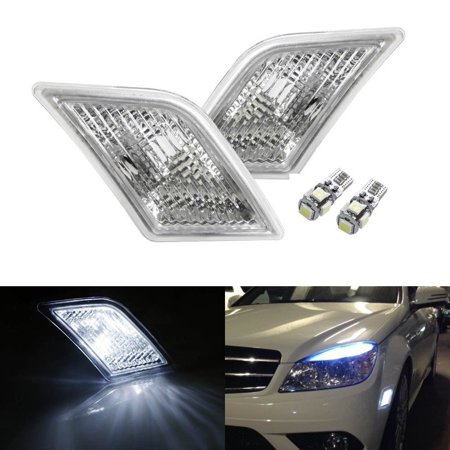 (iJDMTOY (2) Xenon White LED Lights w/ Clear Lens Side Marker Lamps For 2008-2011 Mercedes Benz W204 C250 C300 C350 & 2008-2013 C63 AMG)