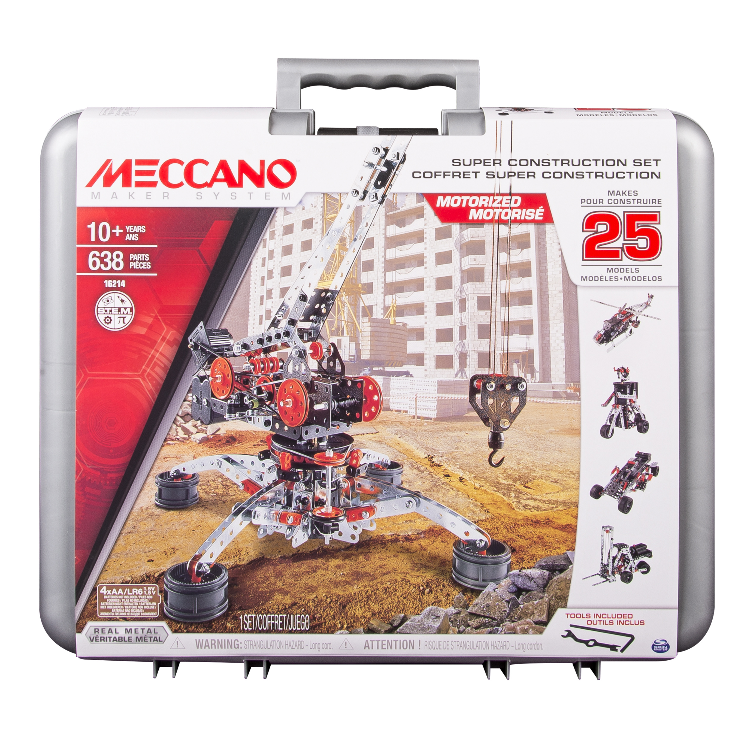 Erector by Meccano Super Construction 25-in-1 Building Set, 638 Parts, For Ages 10+, STEAM Education Toy