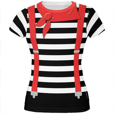 Halloween French Mime Costume All Over Juniors T Shirt (French Maid Costume Halloween)