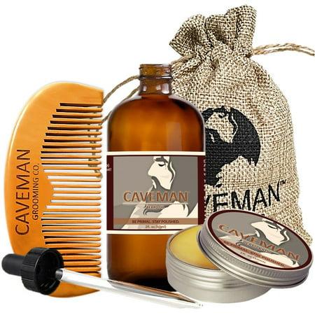 Caveman 2oz Beard Oil, 2oz Beard Balm, Custom Wooden Comb, Caveman Bag - Scent: Orange Bourbon (Caveman Decorations)