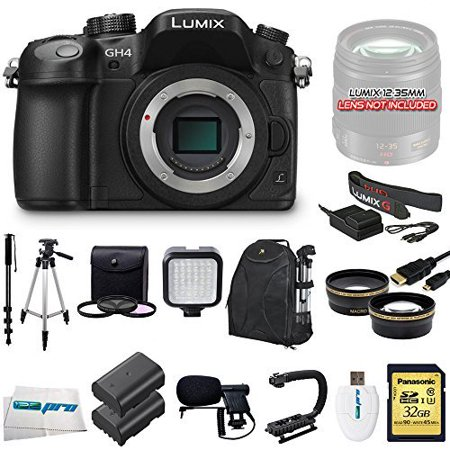 Panasonic Lumix Dmc Gh4 16 05Mp Digital Single Lens Mirrorless Camera With 4K Cinematic Video  Body Only    Videographers Essentials Kit