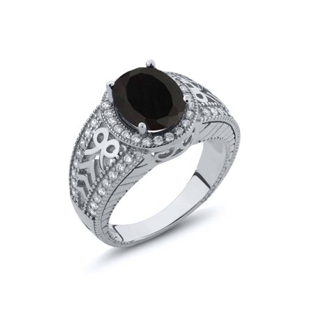 - Oval Black Onyx Gemstone 925 Sterling Silver Ring 2.83 cttw