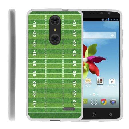 Football Field Design (ZTE Grand X4 Z956 Flex Force Flexible Slim Durable Bumper Case with Unique Designs - Football Field)