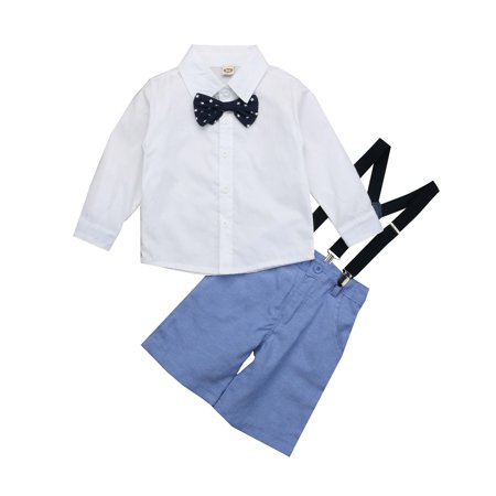 USA 2Pcs Toddler Baby Boy Tops Overalls Jean Pants Outfits Clothes Set Gentleman (Usa Outfits)