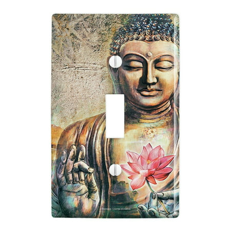Pine Switchplate (Buddha Pink Lotus Flowers Serenity Plastic Wall Decor Toggle Light Switch Plate Cover)