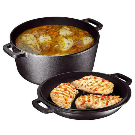 Bruntmor Heavy Duty Pre-Seasoned 2 In 1 Cast Iron Double Dutch Oven and Domed Skillet Lid, Non-Stick, 5-Quart (Set of -