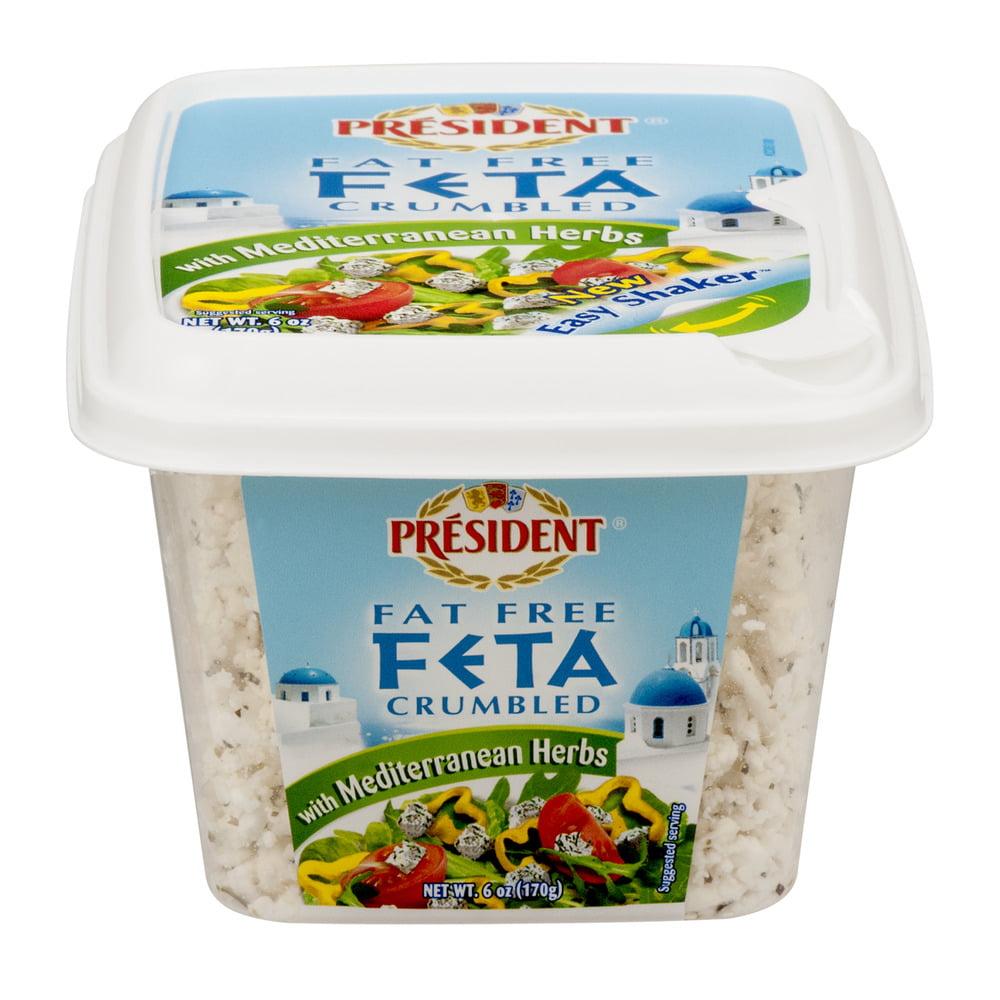 President Fat Free Feta Crumbled with Mediterranean Herbs, 6.0 OZ
