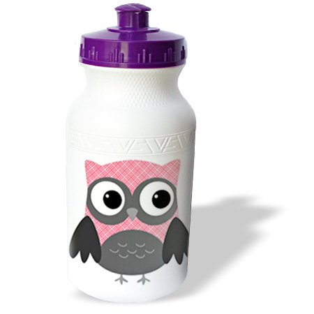 3dRose Cute Pink and White Plaid Owl, Sports Water Bottle, 21oz