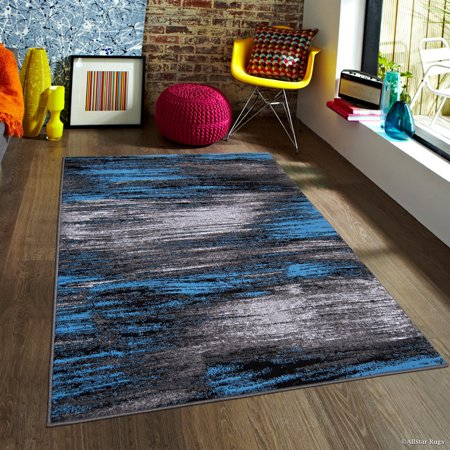 Blue AllStar Modern. Contemporary Woven Area Rug. Drop-Stitch Weave Technique. Carved Effect. Vivid Pop Colors (7' 10