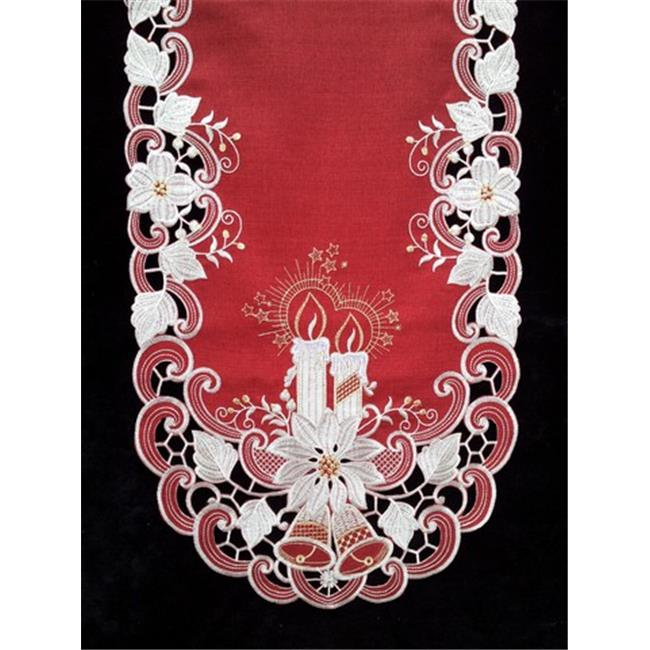 Sinobrite H8963-R1 Poinsettia & Candles Runner, 12 x 65 in. - image 1 of 1