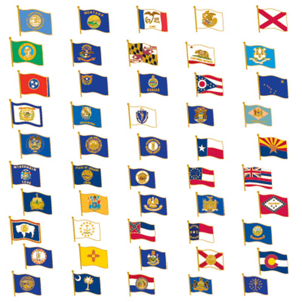 PinMart's 50 US State Flag Enamel Lapel Pin Collection Value Pack
