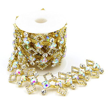 David Cartier 2016 Clear Rhinestone Sewing Trims Applique Costume Wedding Bridal Crystal Chain 1 yard