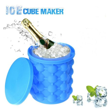 Jeobest Silicone Ice Bucket Maker - Ice Cube Maker Genie - Silicone Ice Cube Trays Molds Ice Bucket - Ice Cube Maker Genie - Ice Bucket The Revolutionary Space Saving Silicone Ice Cube Trays Molds MZ