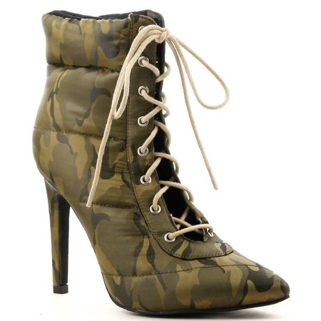 Cape Robbin Gigi-135 Camo Lace Up Pointed Pointy Toe Puffer Ankle Booties Boots (9) (6)