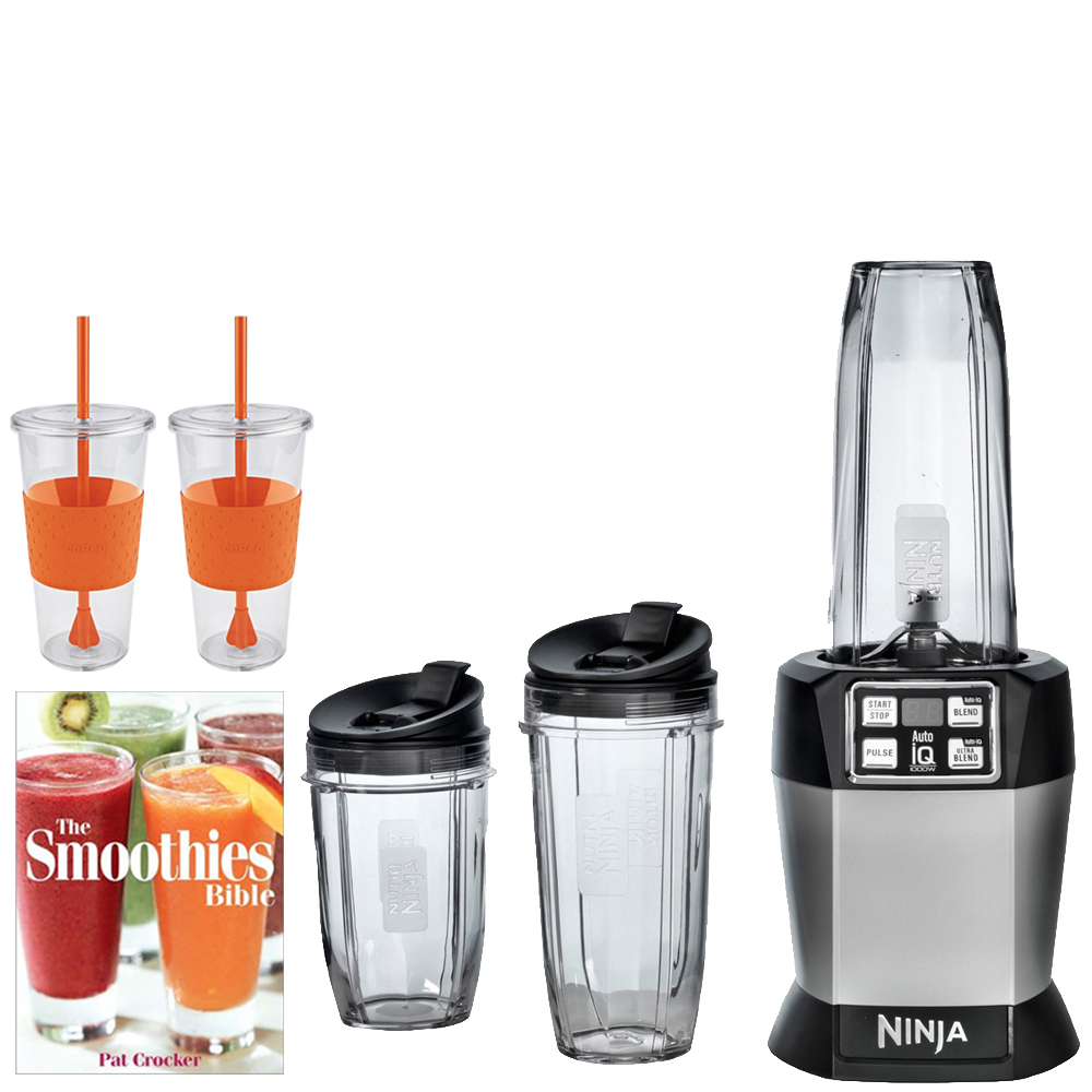 Ninja Auto-iQ Blender BL482 w/ Bundle Includes, Pat Crocker The Smoothies Bible (Paperback) & 2x Copco Eco First Tumbler 24.Oz Togo Cup Mug - Orange