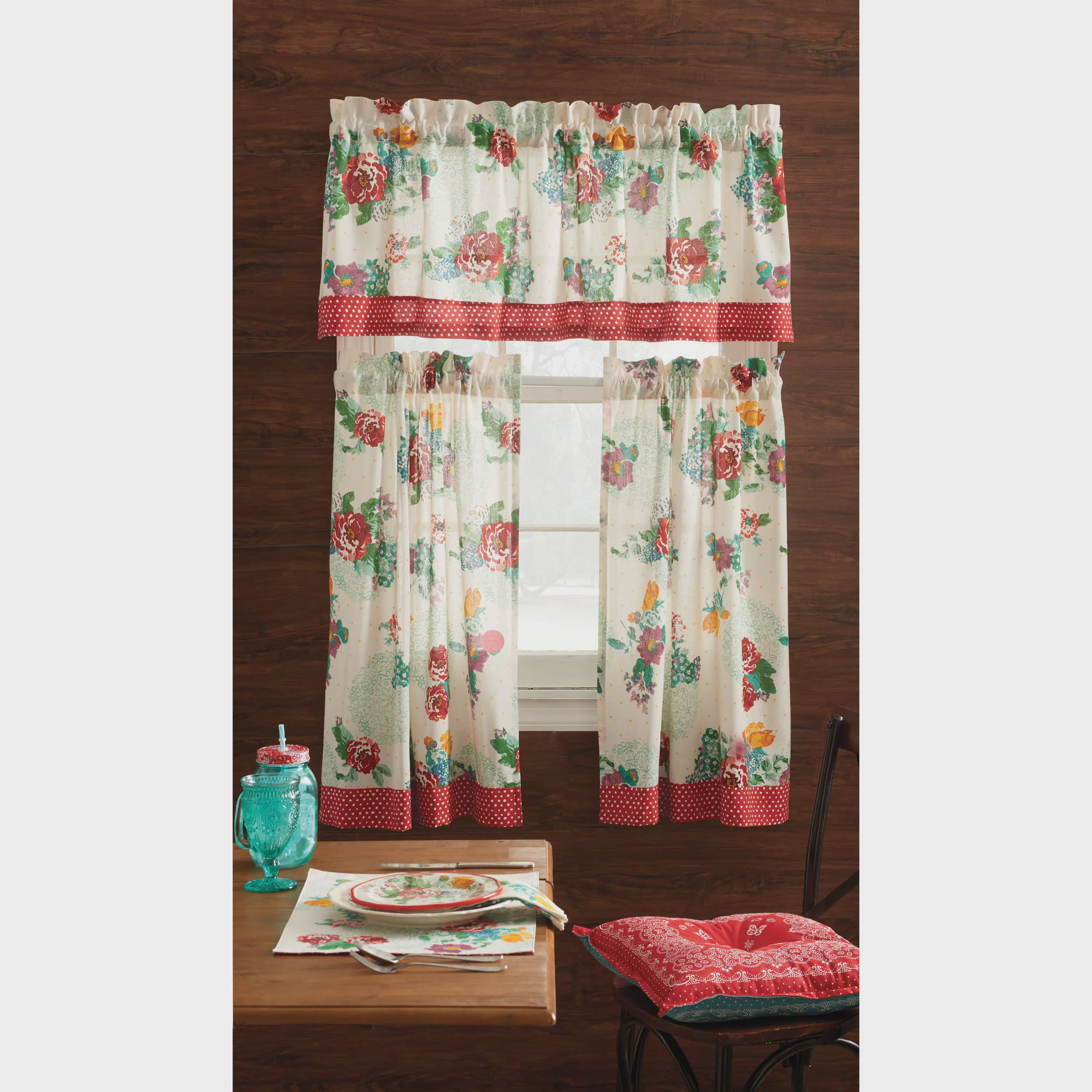 pioneer woman kitchen curtain and valance 3pc set country garden walmartcom - Kitchen Curtain