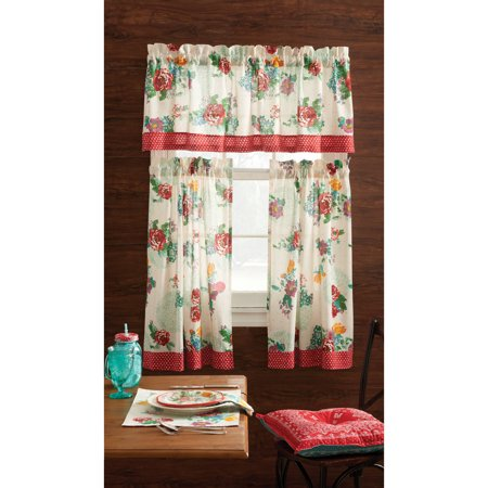 The Pioneer Woman Country Garden 3-Piece Kitchen Curtain Tier And Valance Set ()