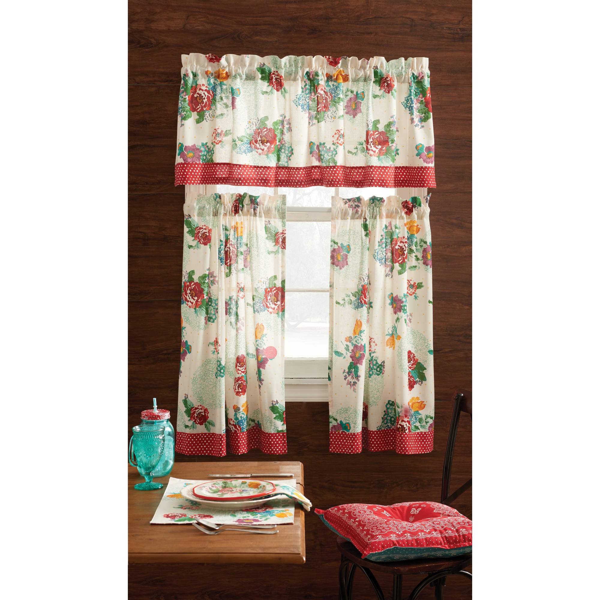 Pioneer Woman Kitchen Curtain and Valance 3pc Set, Country Garden
