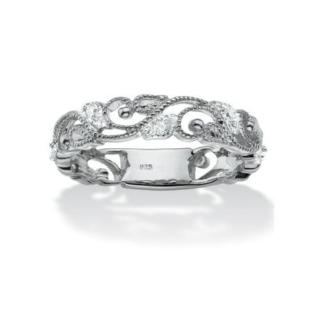 - 1/10 TCW Diamond Openwork Filigree Ring in Sterling Silver