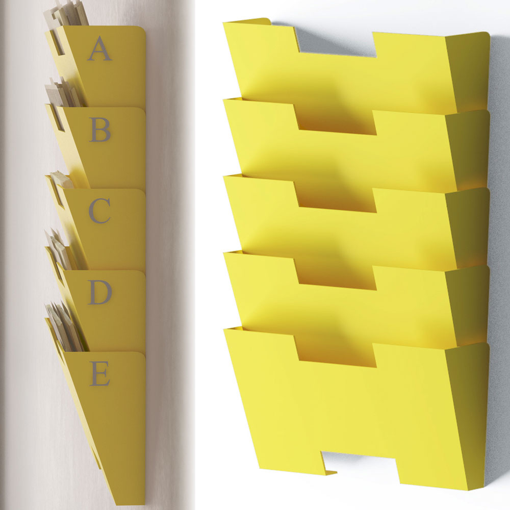 Modular Hanging Wall File Folder 5 Sectional  Magazine Rack Yellow