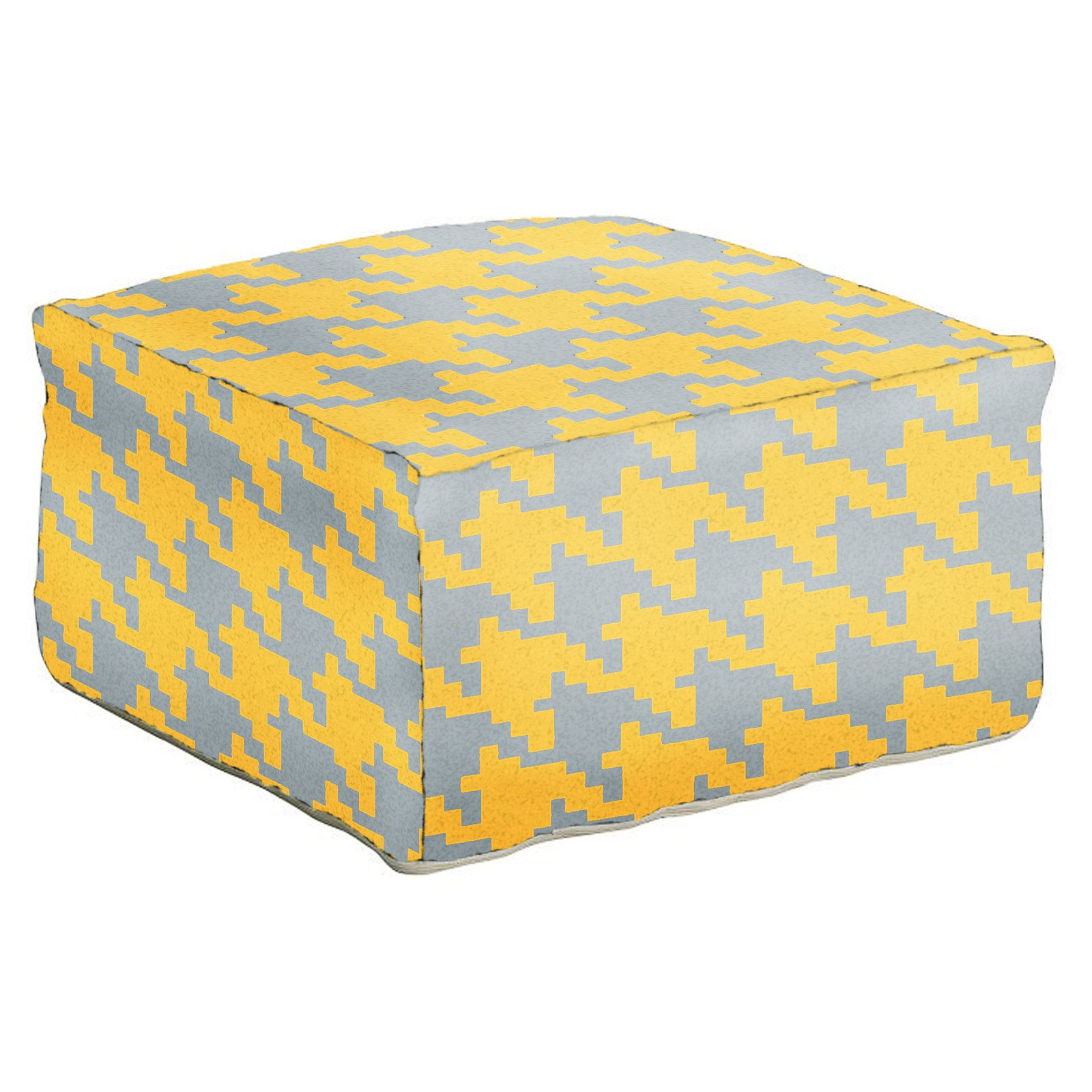 Surya 24 in. Houndstooth Square Wool Pouf by Surya Rugs