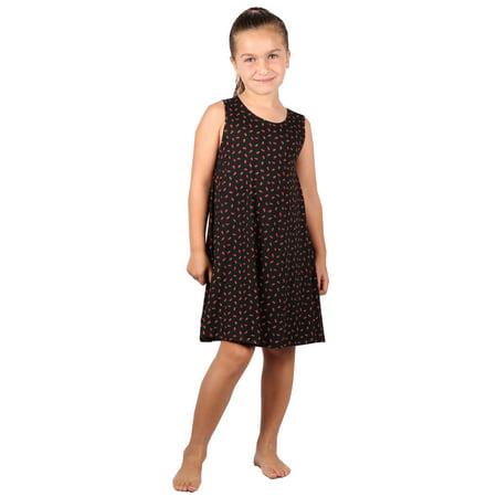 Lori&Jane  Girls Black Strawberry Printed Trendy Tunic Dress
