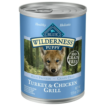 Blue Buffalo Wilderness Turkey & Chicken Grill Grain Free Natural Puppy Wet Dog Food, 12.5-oz cans ()