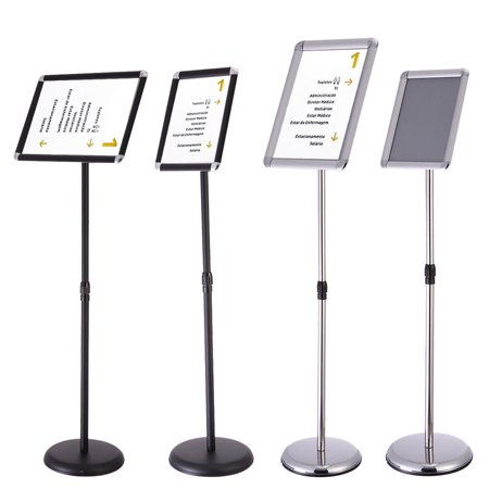 Zimtown A3 A4 Adjustable Pedestal Sign Holder Floor Stand with Telescoping Post Swivel Face Black/Silver