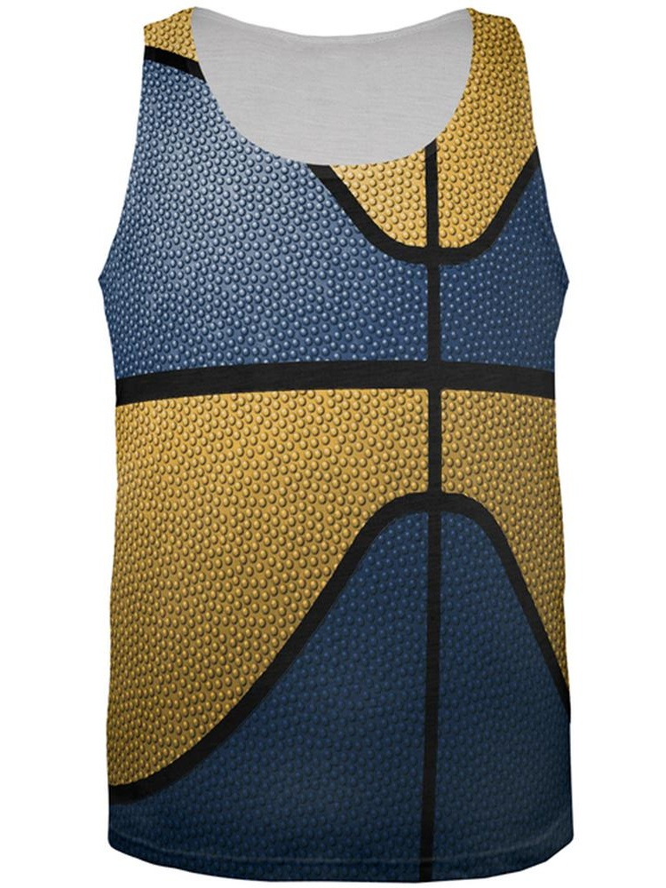 Championship Basketball Blue and Yellow All Over Mens Tank Top