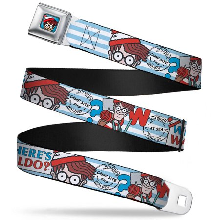 Waldo Bottom Crop Full Color Blue Where's Waldo? Face Walking Stripe Blue Seatbelt Belt Standard