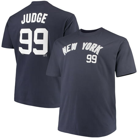 Men's Majestic Aaron Judge Navy New York Yankees MLB Name & Number T-Shirt (Navy League)
