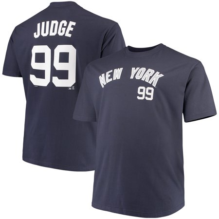 Men's Majestic Aaron Judge Navy New York Yankees MLB Name & Number T-Shirt ()