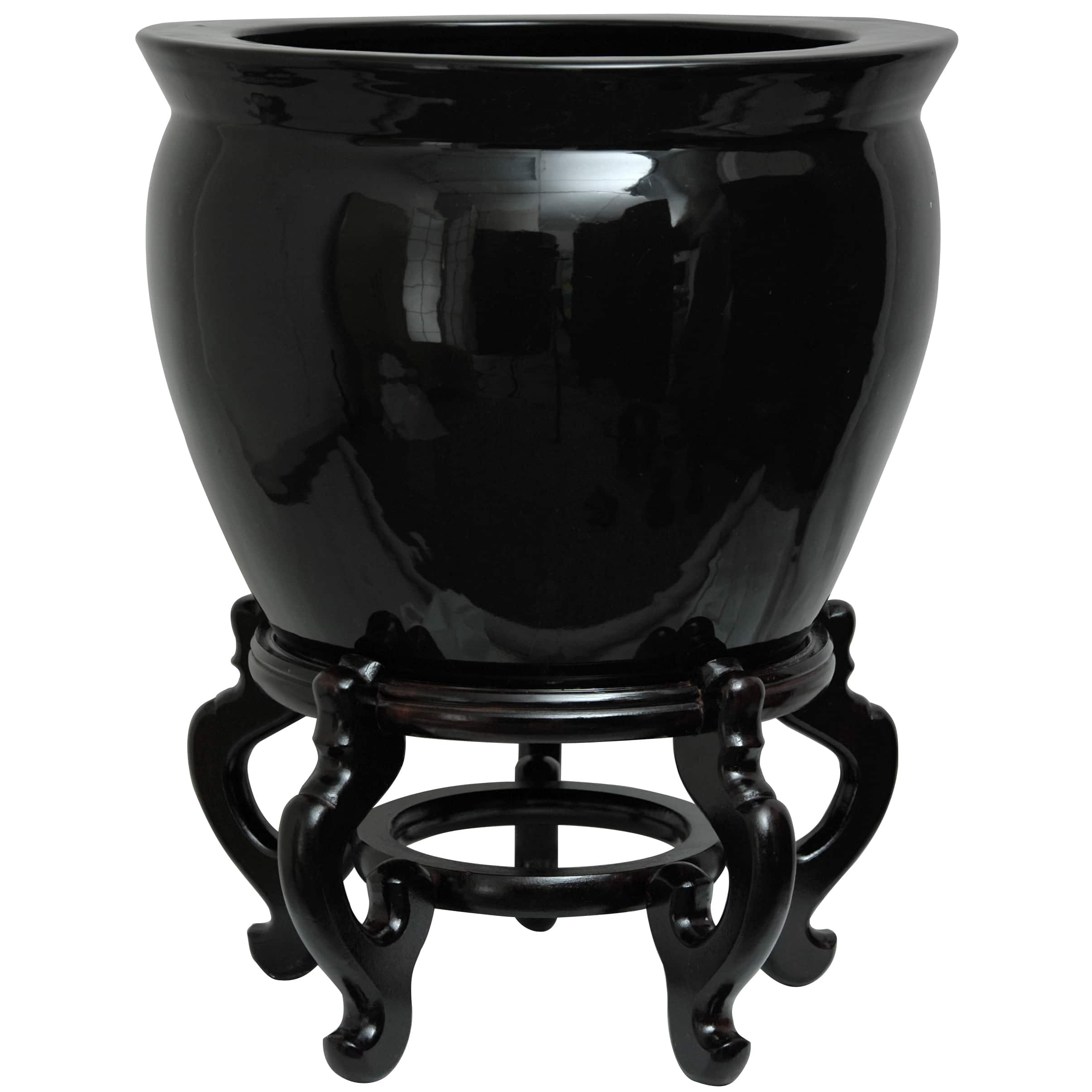 ORIENTAL FURNITURE Handmade Porcelain 16-inch Solid Black Fishbowl (China)