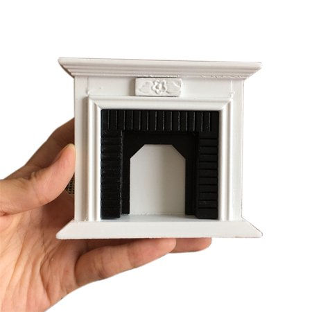 1:12 Dollhouse Miniature Furniture Room Wooden Vintage Black White - Vintage Cardboard Fireplace