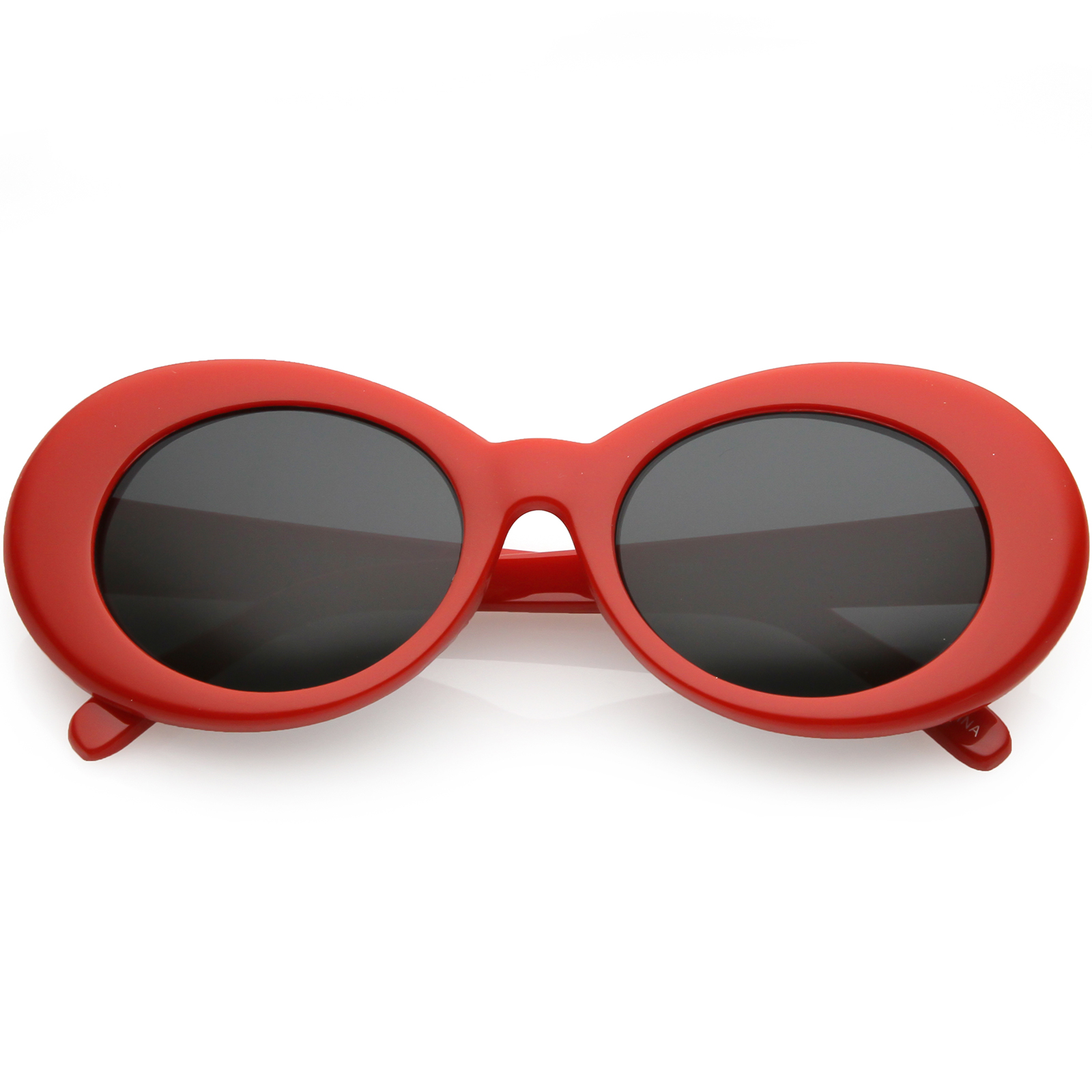 sunglassLA - Large Retro Mod Oval Sunglasses Thick Frame Wide Arms Neutral Colored Lens 53mm - 53mm