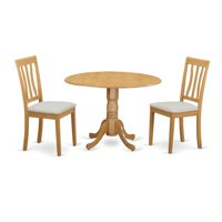 East West Furniture DLAN3-OAK-C Kitchen Dinette Table & 2 Kitchen Chairs, Oak