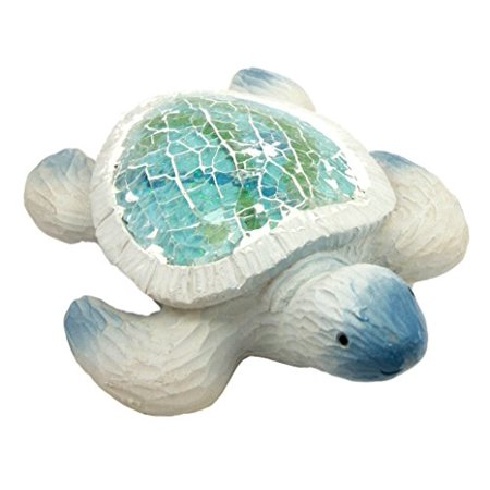 Atlantic Collectibles Coastal Ocean Giant Sea Turtle Decorative Resin Figurine With Crushed Glass Shell