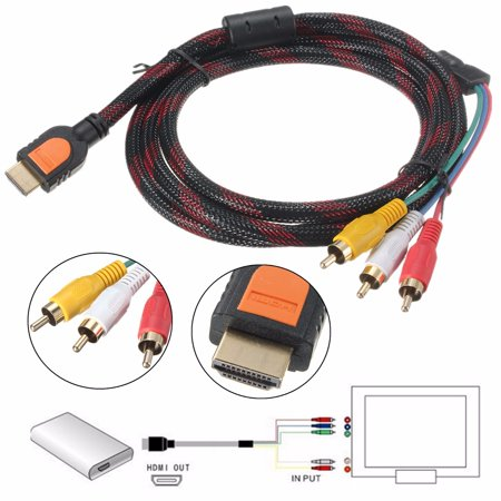 1.5M Male to 3 RCA Converter Component AV Adapter Cable High Definition Multimedia Interface Video Audio 1080P