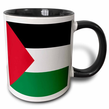 3dRose Flag of Palestine - Palestinian black red white green stripes triangle Arab world country West Bank - Two Tone Black Mug, 11-ounce