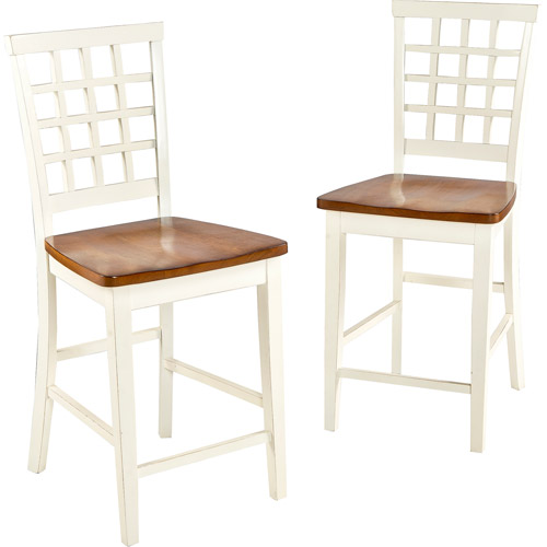 "Imagio Home Arlington Lattice Back Counter Stools, 24"", Set of 2, White and Java"