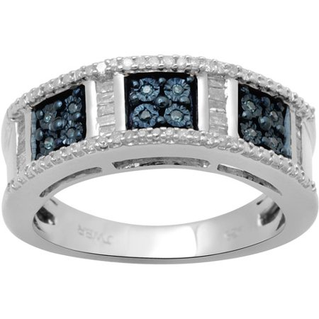 1/5 Carat T.W. Blue and White Baguette and Round Diamond Sterling Silver Fashion Ring